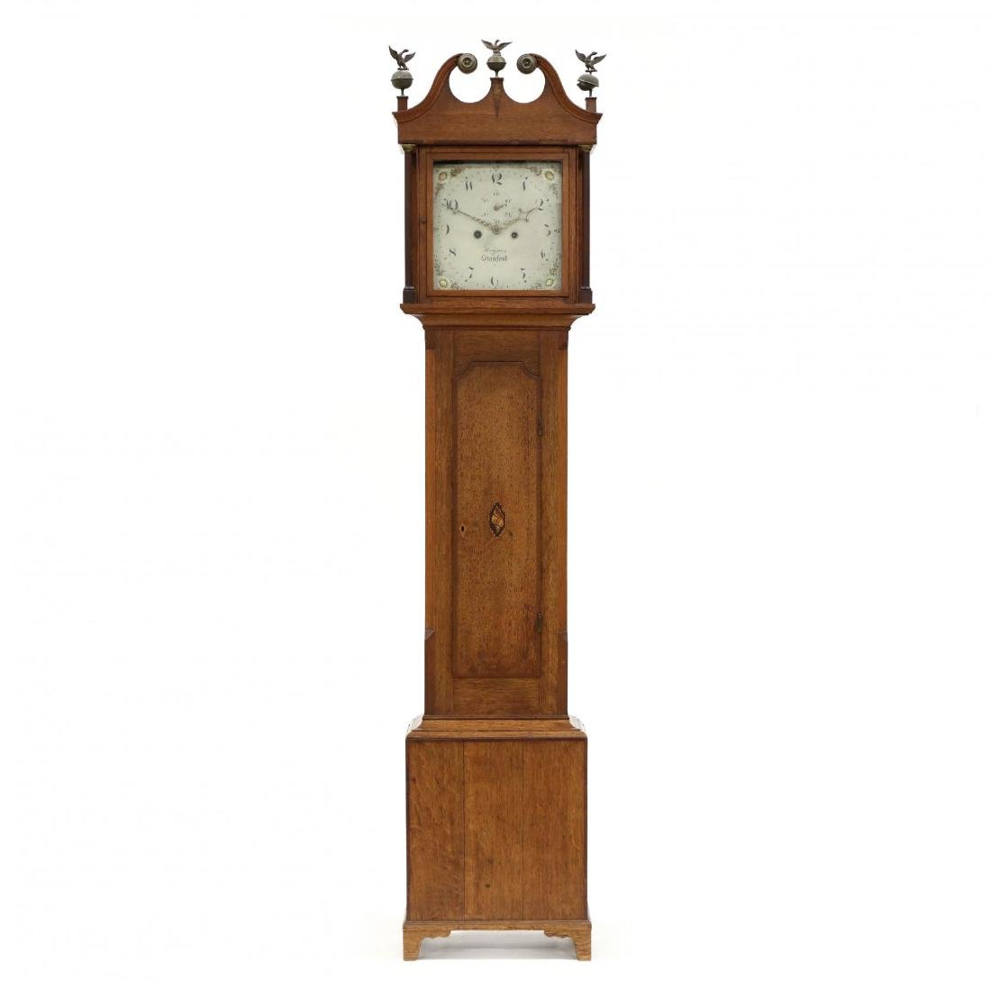 English Inlaid Oak Tall Case Clock, Haynes, Stamford
