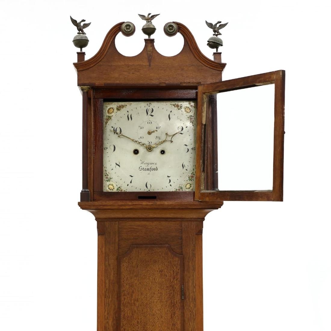 English Inlaid Oak Tall Case Clock, Haynes, Stamford - 2