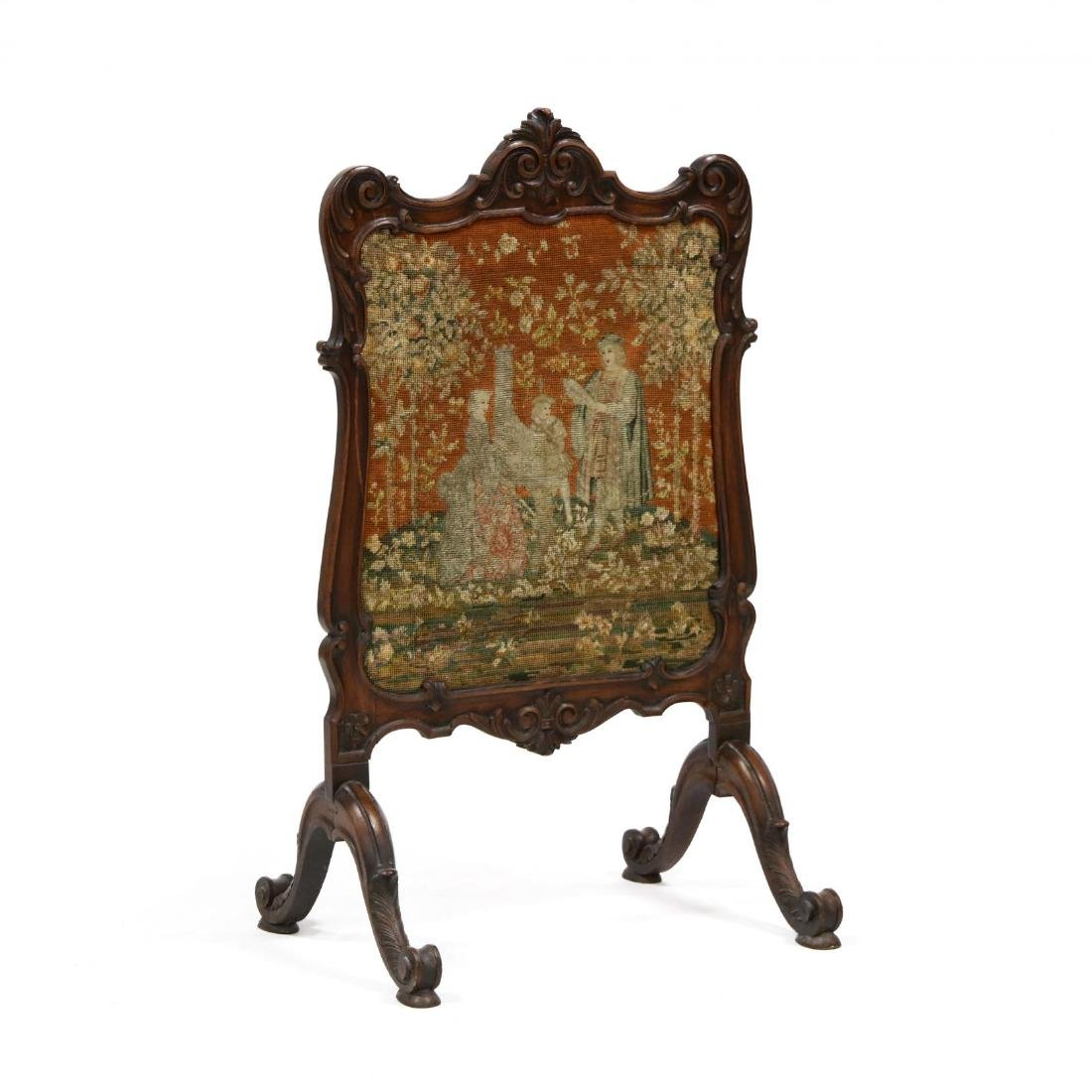 Rococo Revival Carved Walnut Fire Screen