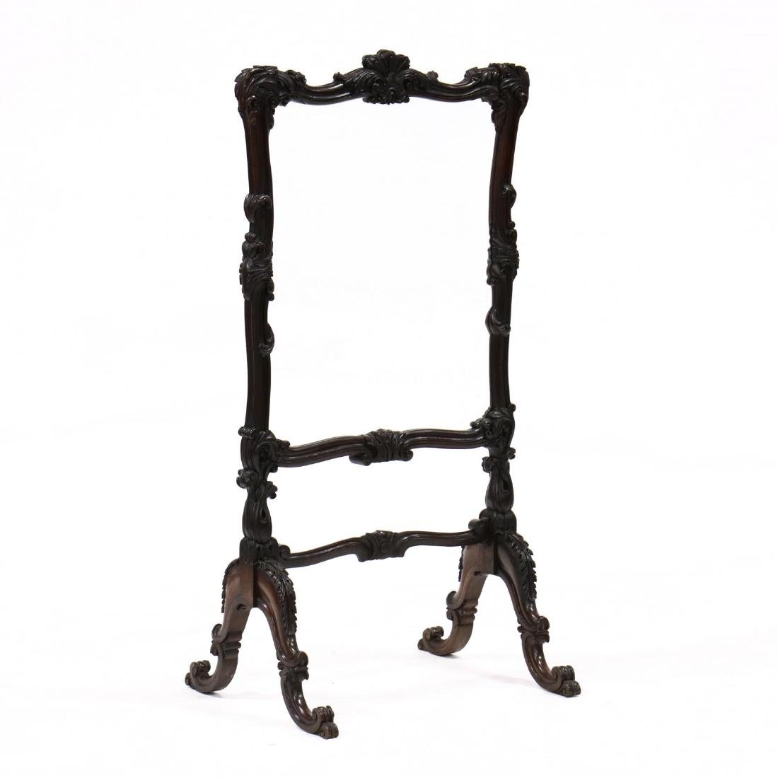 Rococo Revival Carved Rosewood Fire Screen