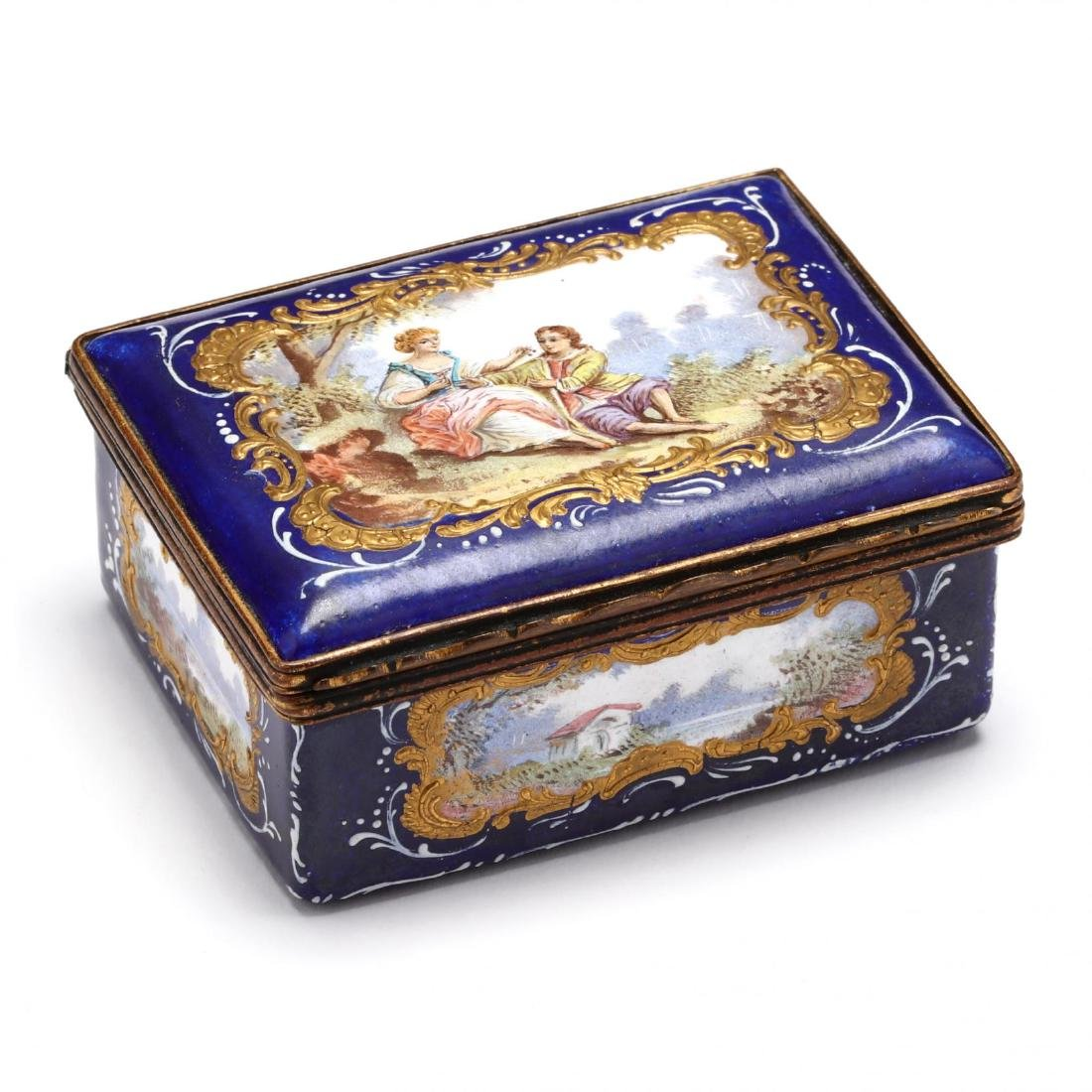 An Antique Enamel Table Box, att. Bilston