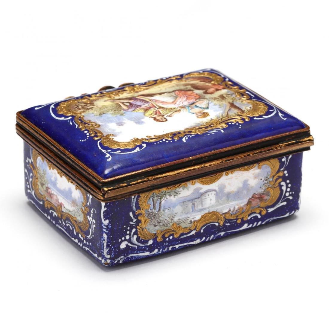 An Antique Enamel Table Box, att. Bilston - 3