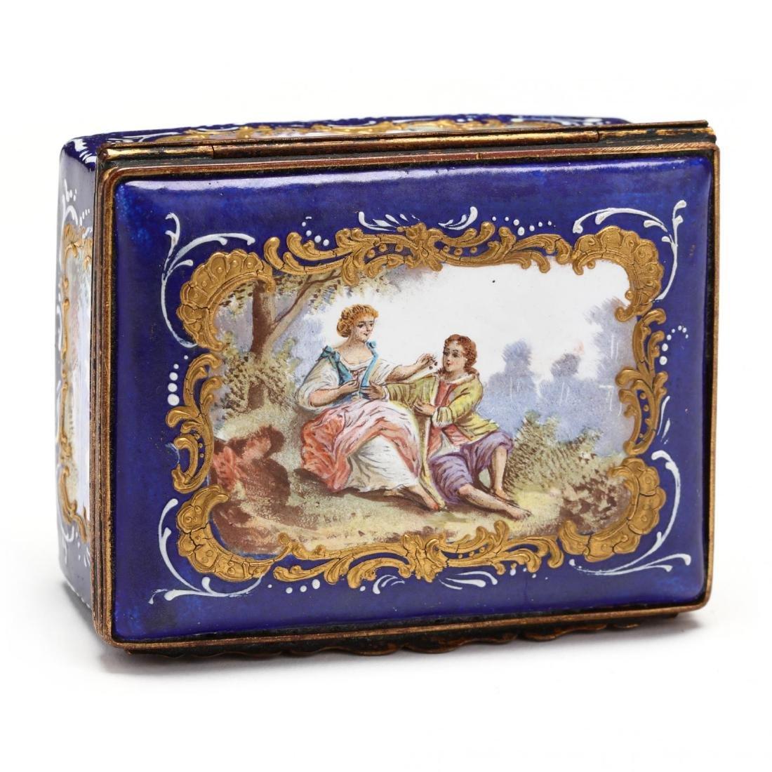 An Antique Enamel Table Box, att. Bilston - 5