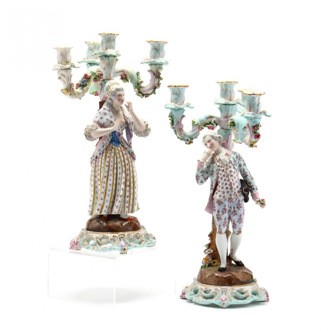 A Pair of Continental Porcelain Candelabra
