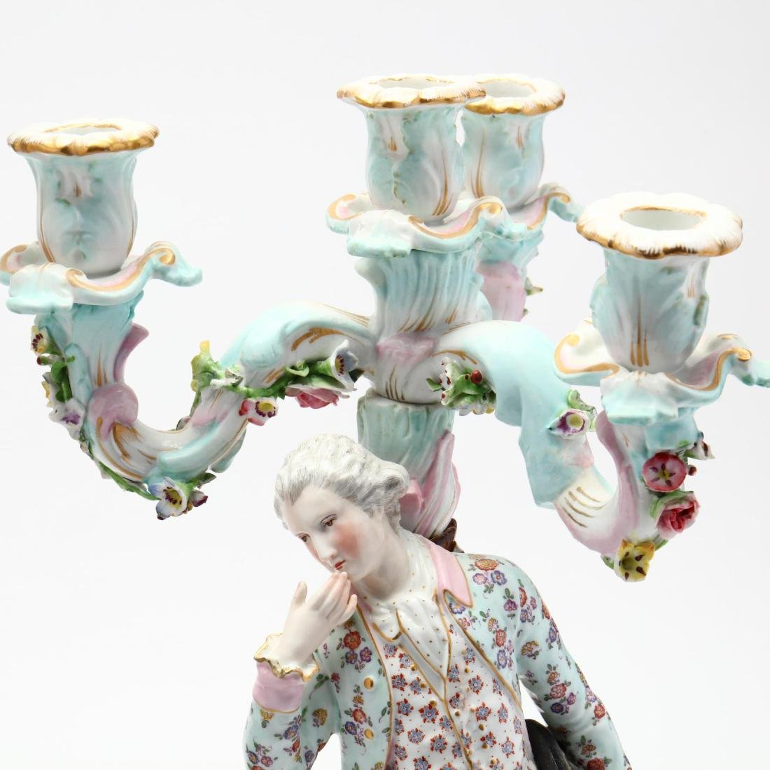 A Pair of Continental Porcelain Candelabra - 2