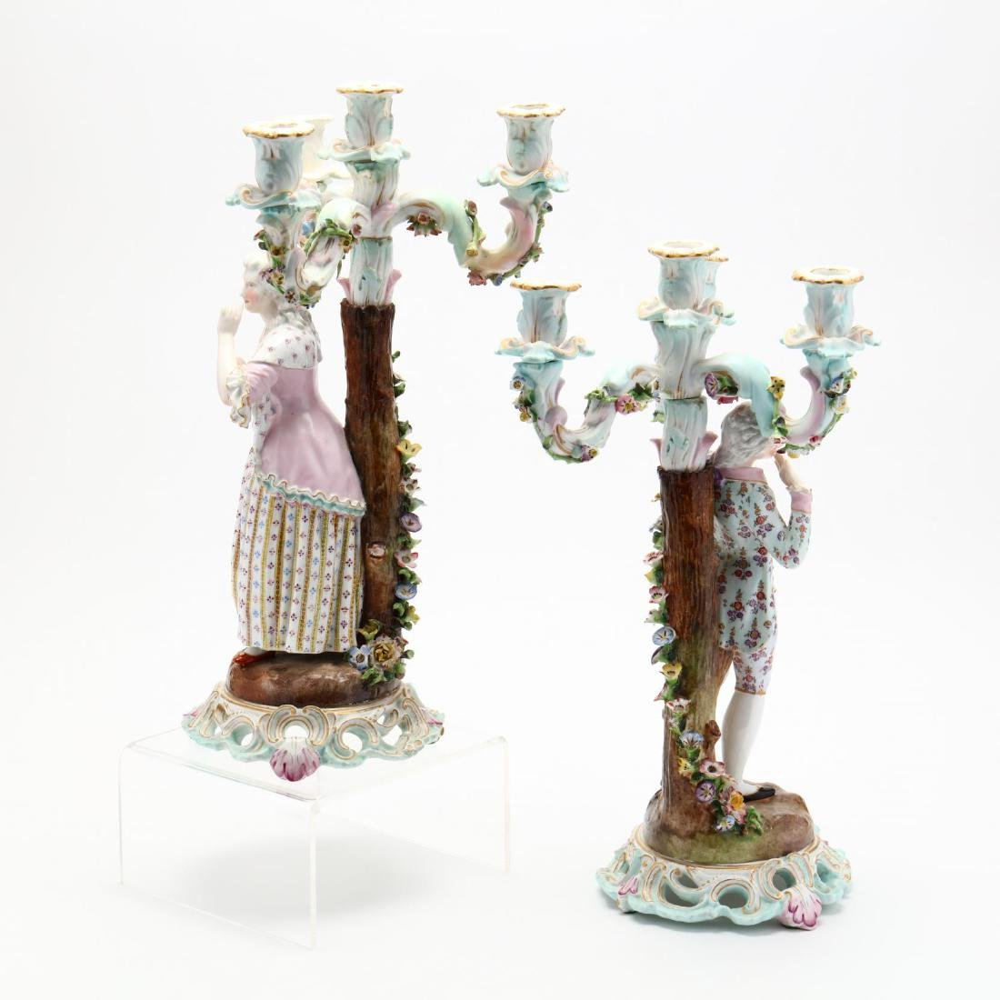 A Pair of Continental Porcelain Candelabra - 4