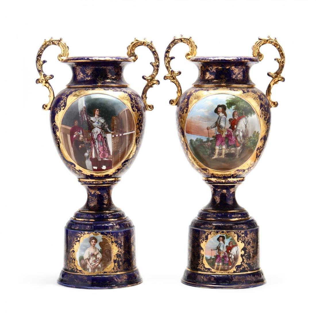 Pair of Antique English Porcelain Mantel Urns