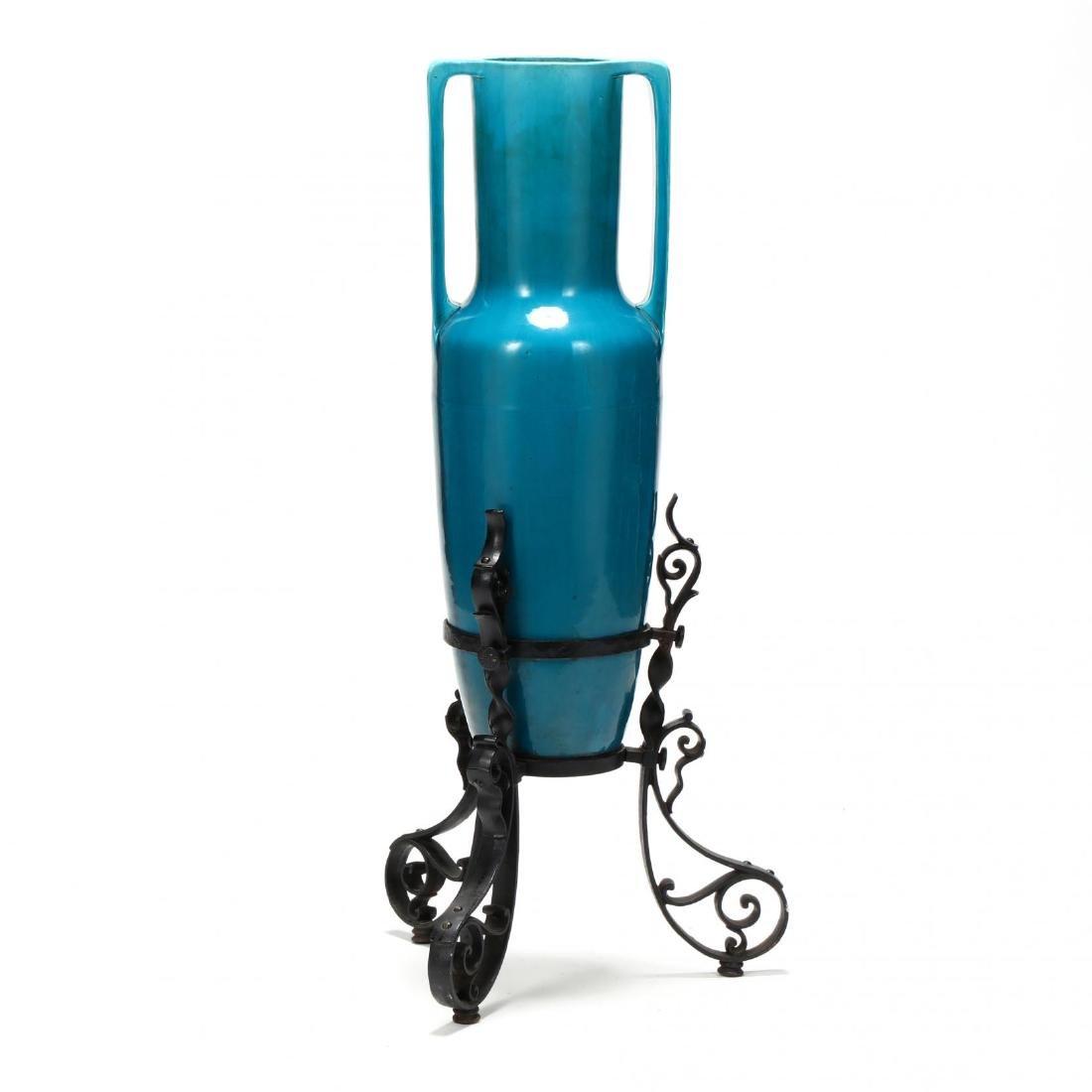 Large Continental Porcelain Turquoise Glaze Vase on