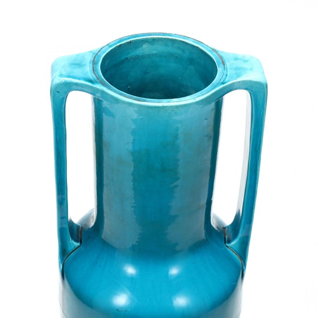 Large Continental Porcelain Turquoise Glaze Vase on - 2