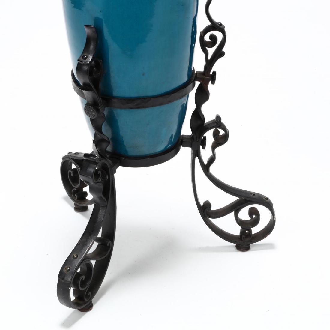 Large Continental Porcelain Turquoise Glaze Vase on - 3