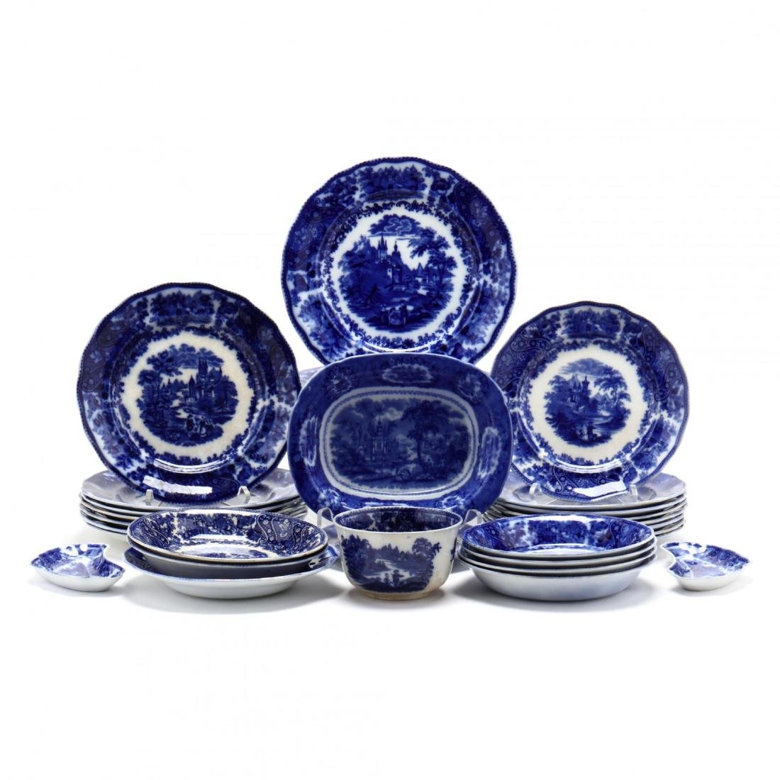 31 Piece Set of Flow Blue Burgess Leigh China in the