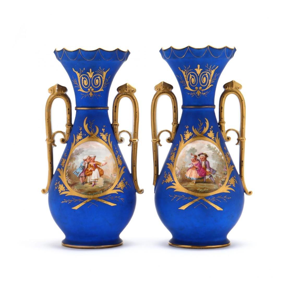 Pair of Paris Porcelain Matte Blue Mantel Urns
