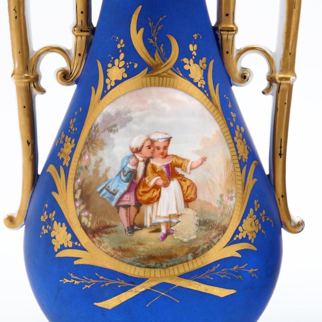 Pair of Paris Porcelain Matte Blue Mantel Urns - 2