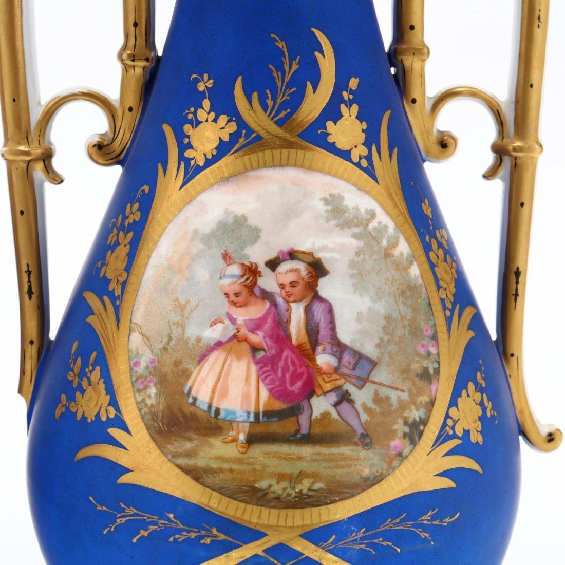 Pair of Paris Porcelain Matte Blue Mantel Urns - 3