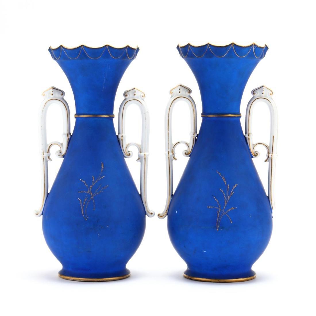 Pair of Paris Porcelain Matte Blue Mantel Urns - 4