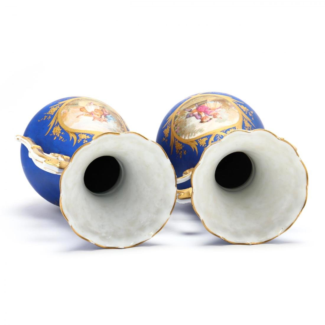 Pair of Paris Porcelain Matte Blue Mantel Urns - 6