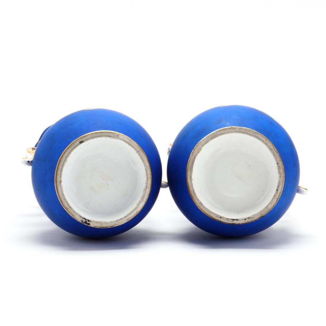 Pair of Paris Porcelain Matte Blue Mantel Urns - 7