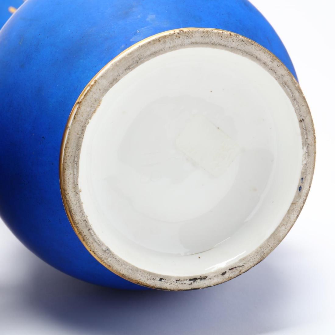 Pair of Paris Porcelain Matte Blue Mantel Urns - 8