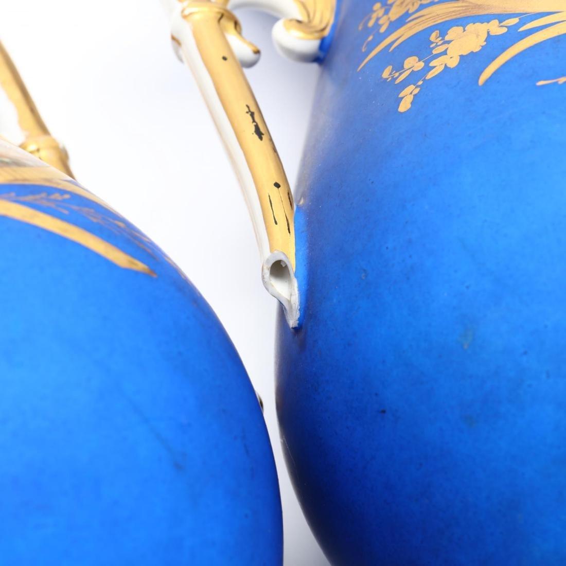 Pair of Paris Porcelain Matte Blue Mantel Urns - 9