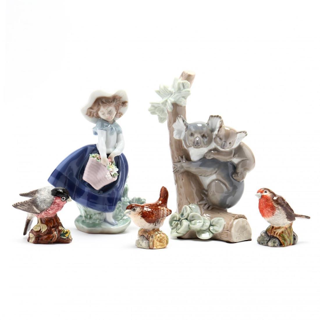 Five Porcelain Figures, Lladro and Royal Doulton