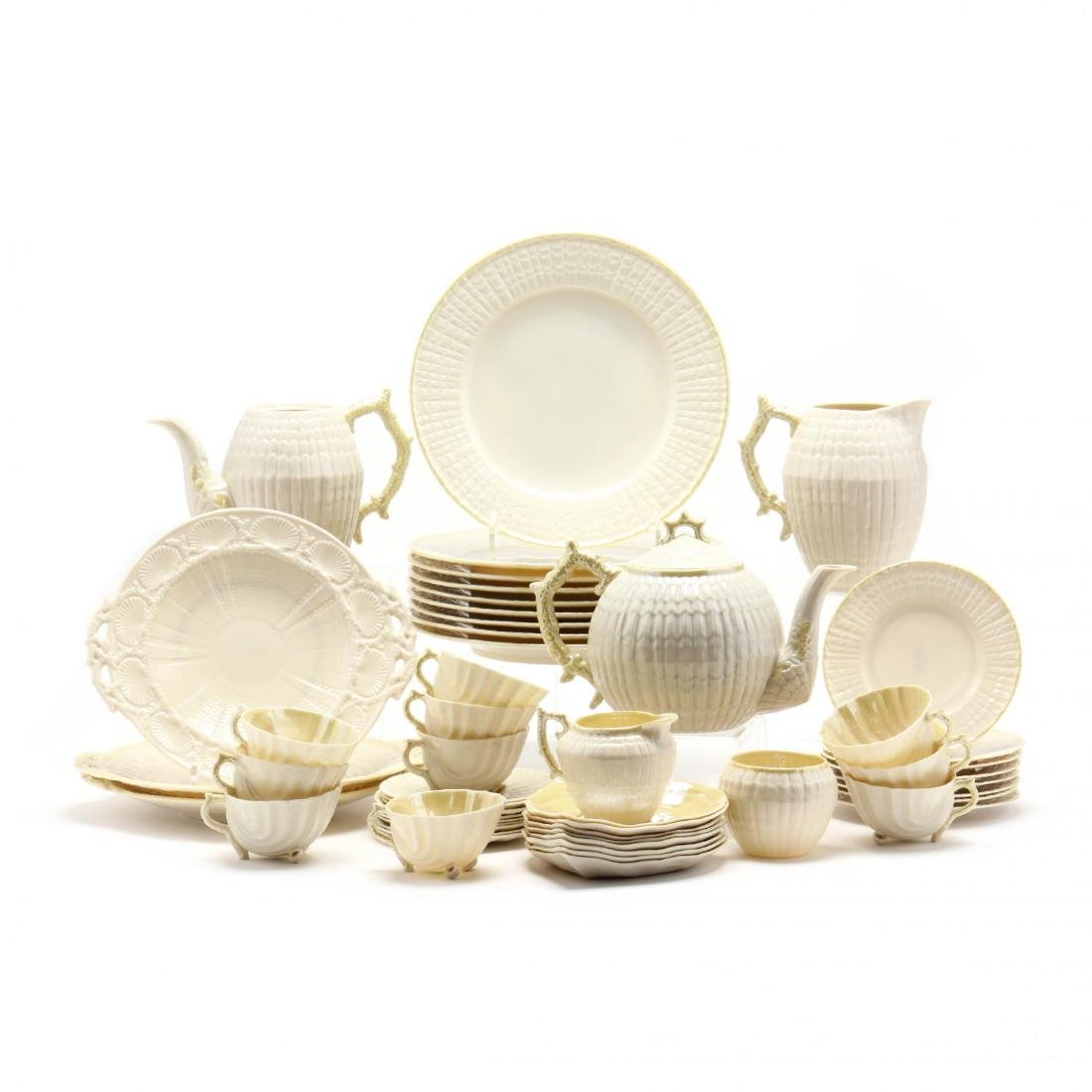 Belleek, 52 Piece Shell Motif Tea Set