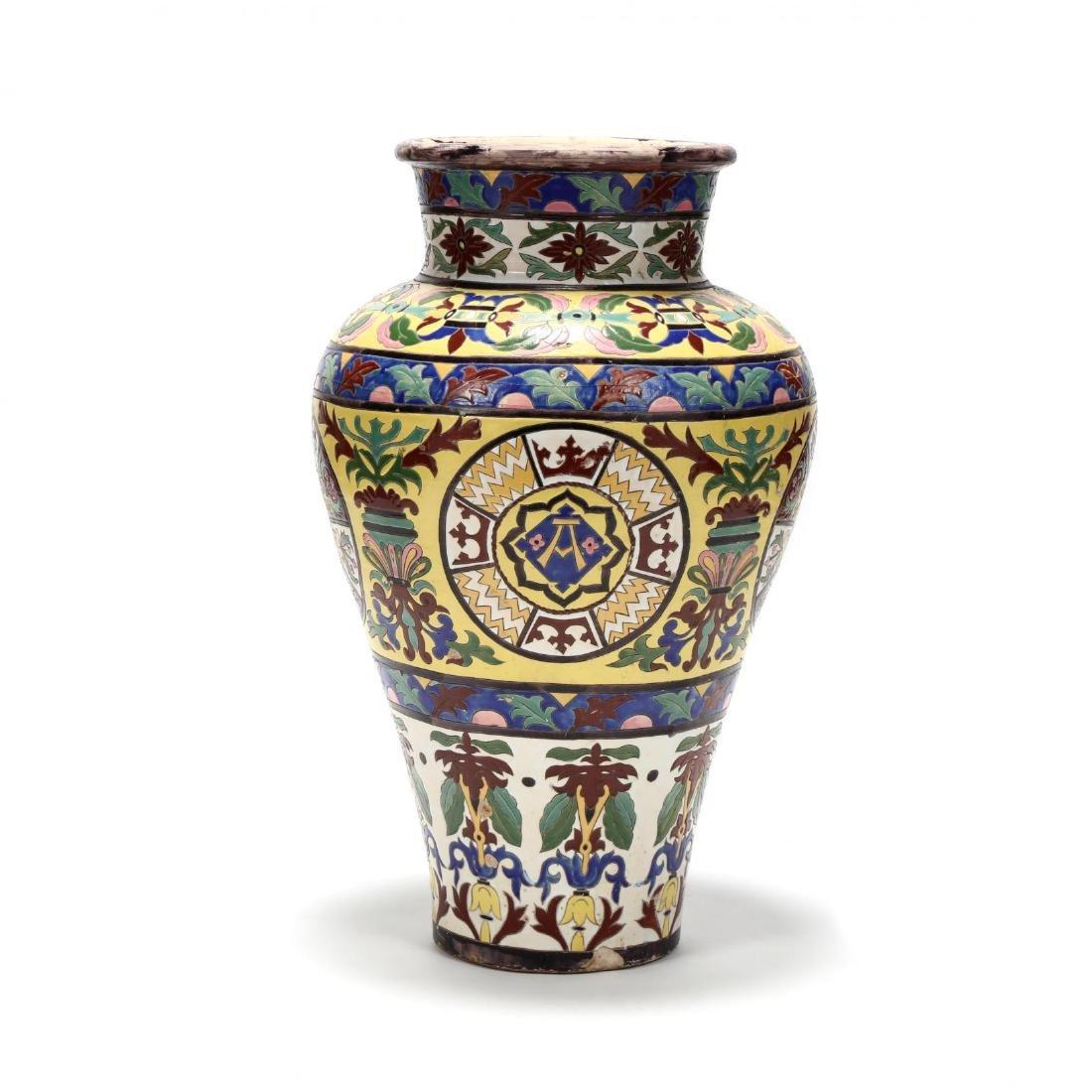 A Large Continental Glazed Pottery Floor Vase