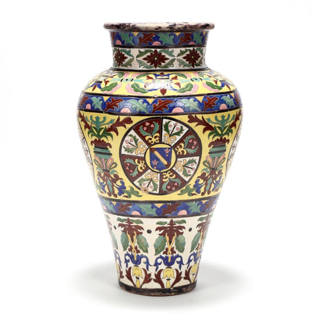 A Large Continental Glazed Pottery Floor Vase - 4
