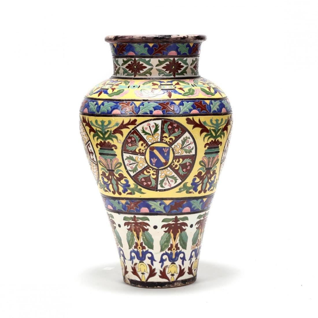 A Large Continental Glazed Pottery Floor Vase - 5
