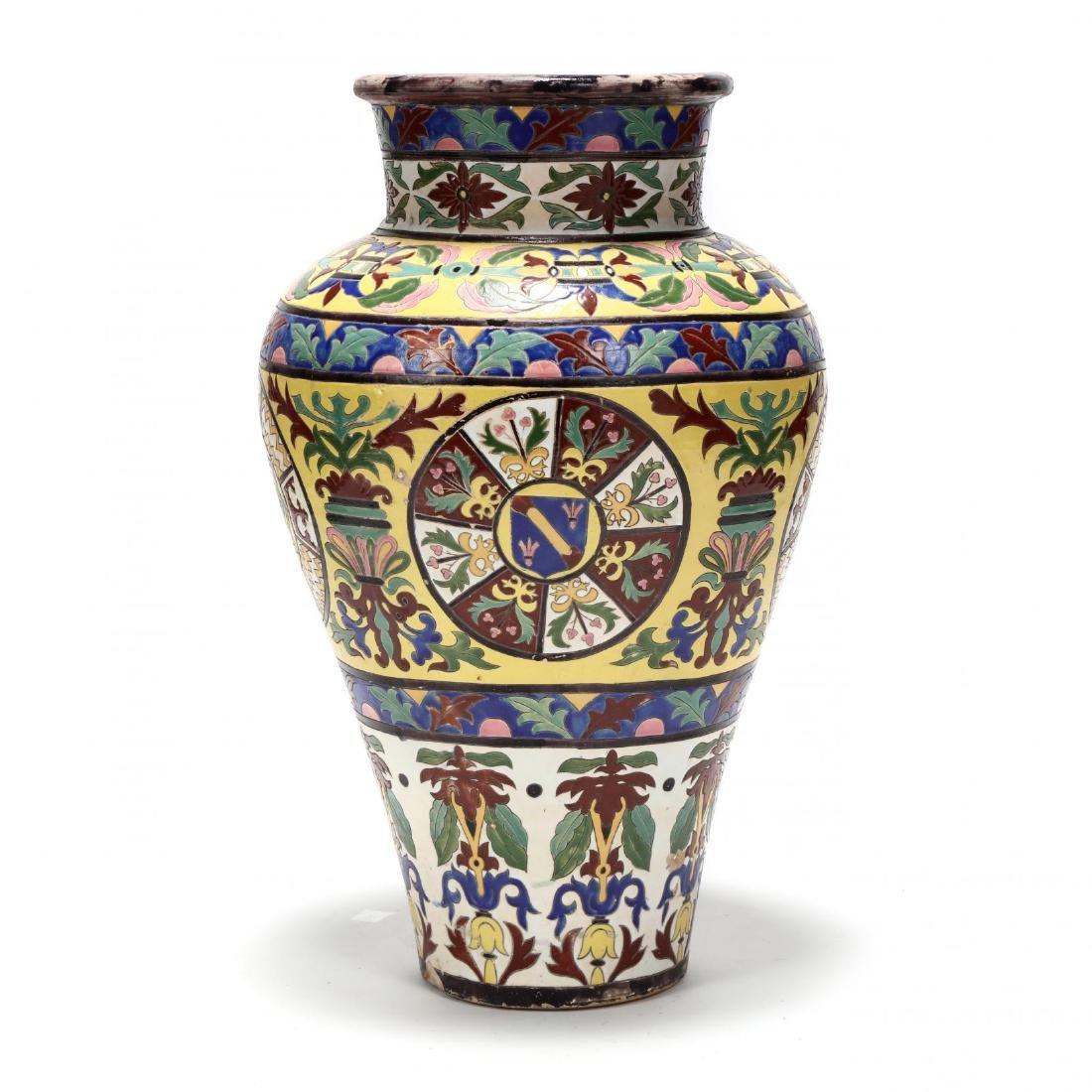 A Large Continental Glazed Pottery Floor Vase - 6