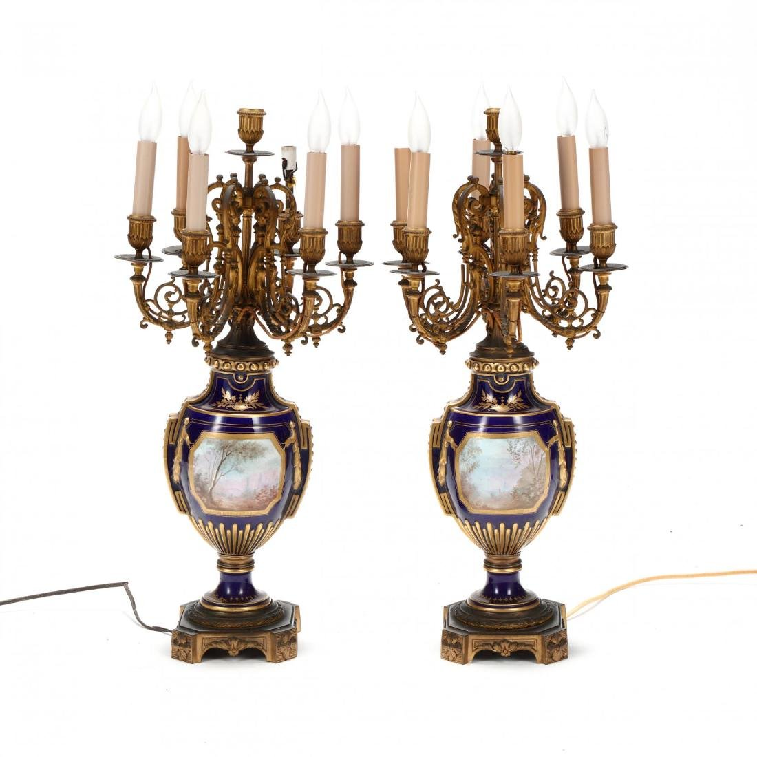 A Pair of Sevres Painted Porcelain Electrified - 4