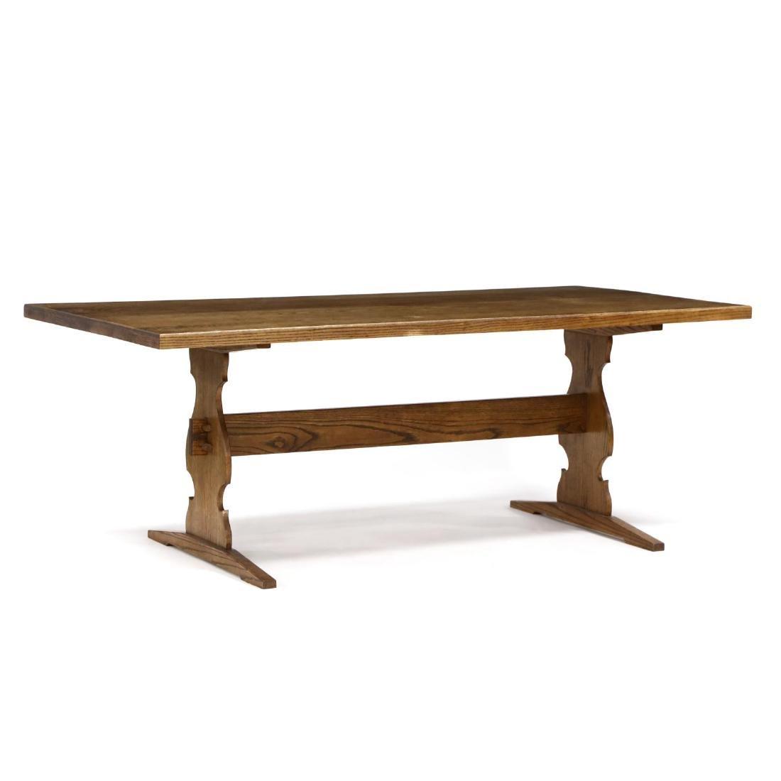 Bob Trotman, Custom Oak Trestle Base Dining Table