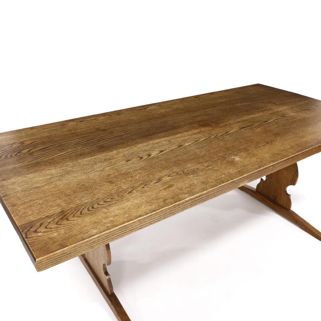 Bob Trotman, Custom Oak Trestle Base Dining Table - 2