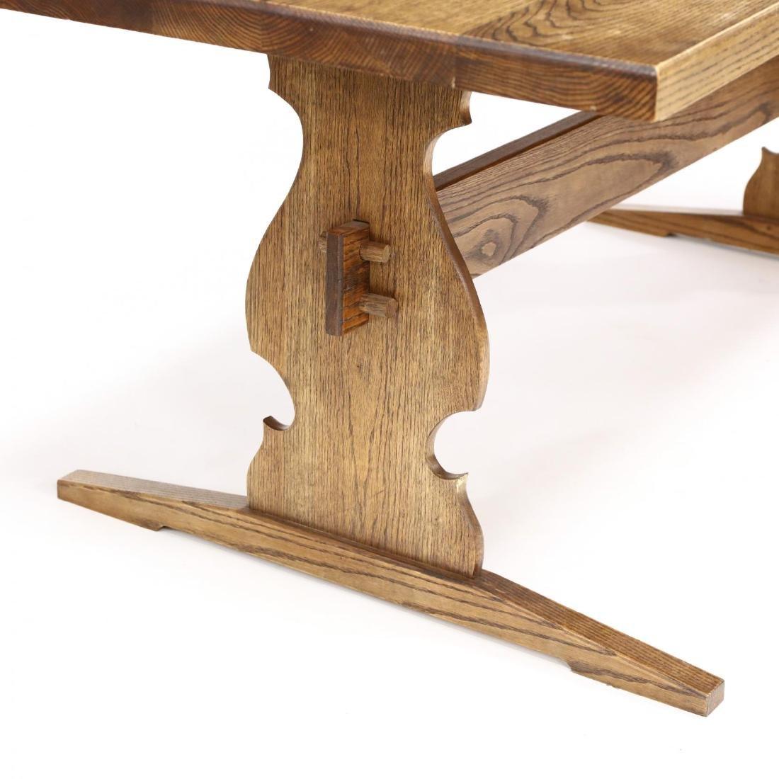Bob Trotman, Custom Oak Trestle Base Dining Table - 3