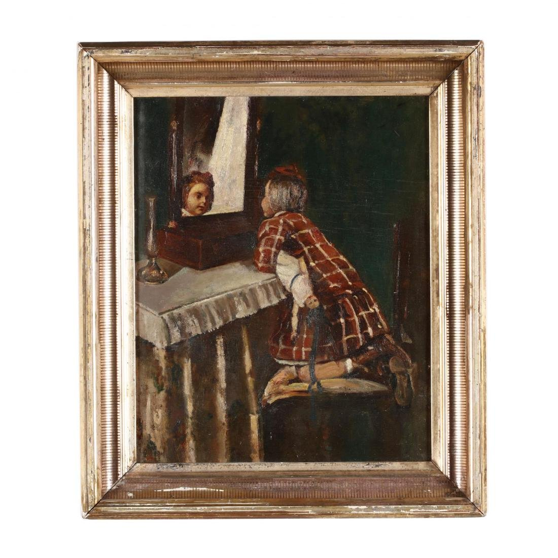 Antique Genre Painting of a Child with a Doll
