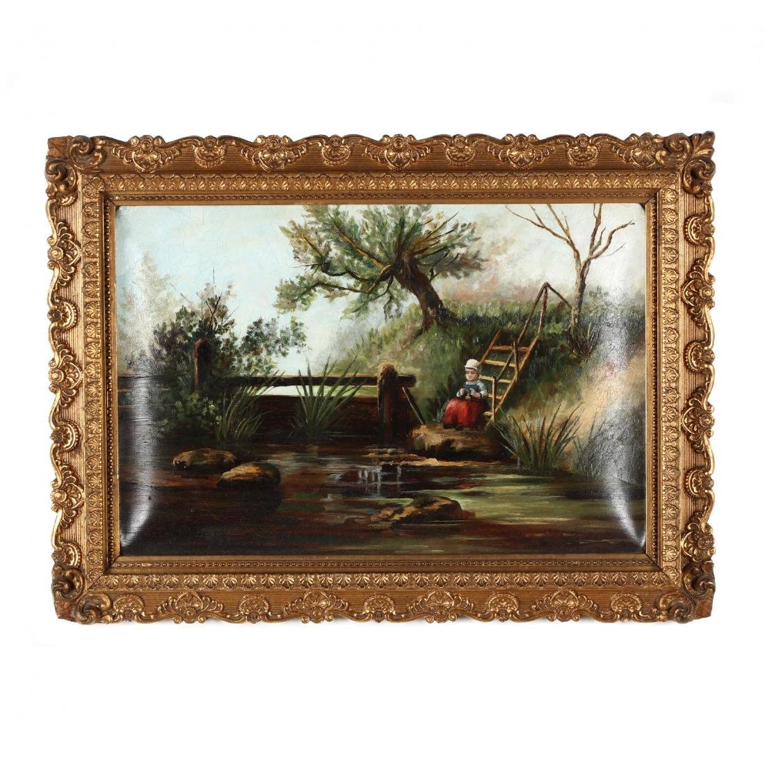 A Victorian Painting of a Child by a River Bank