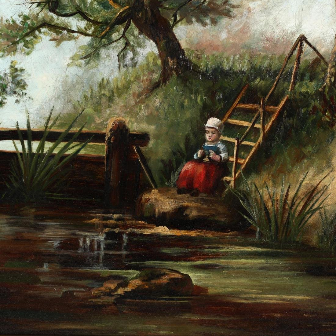 A Victorian Painting of a Child by a River Bank - 2