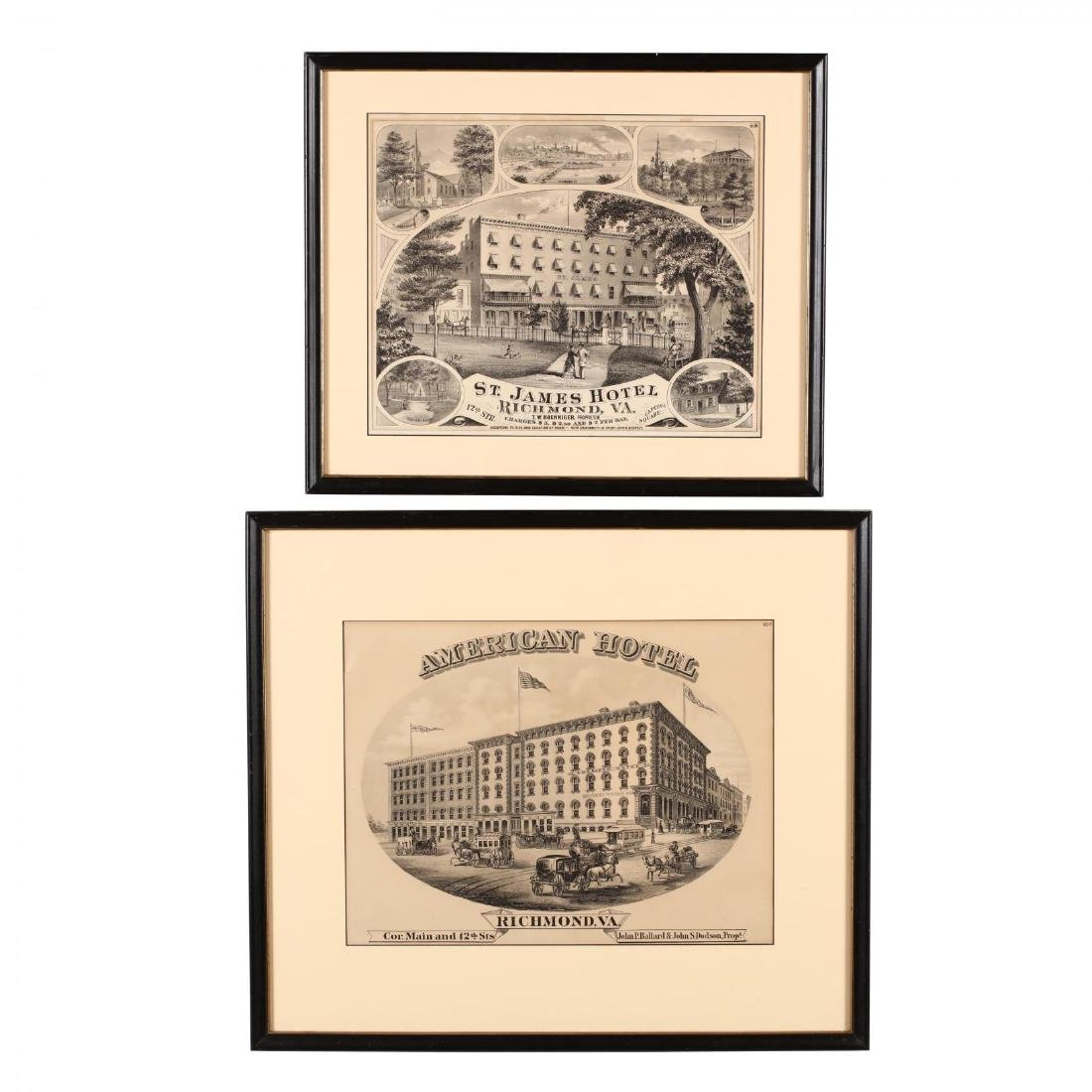 Two Antique Richmond, Virginia Hotel Advertisements