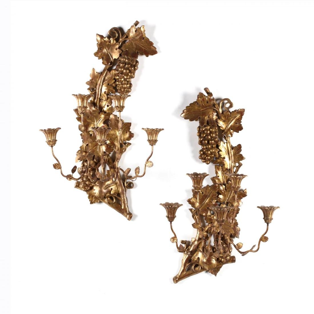 Pair of Italian Vintage Carved and Gilt Wall Sconces