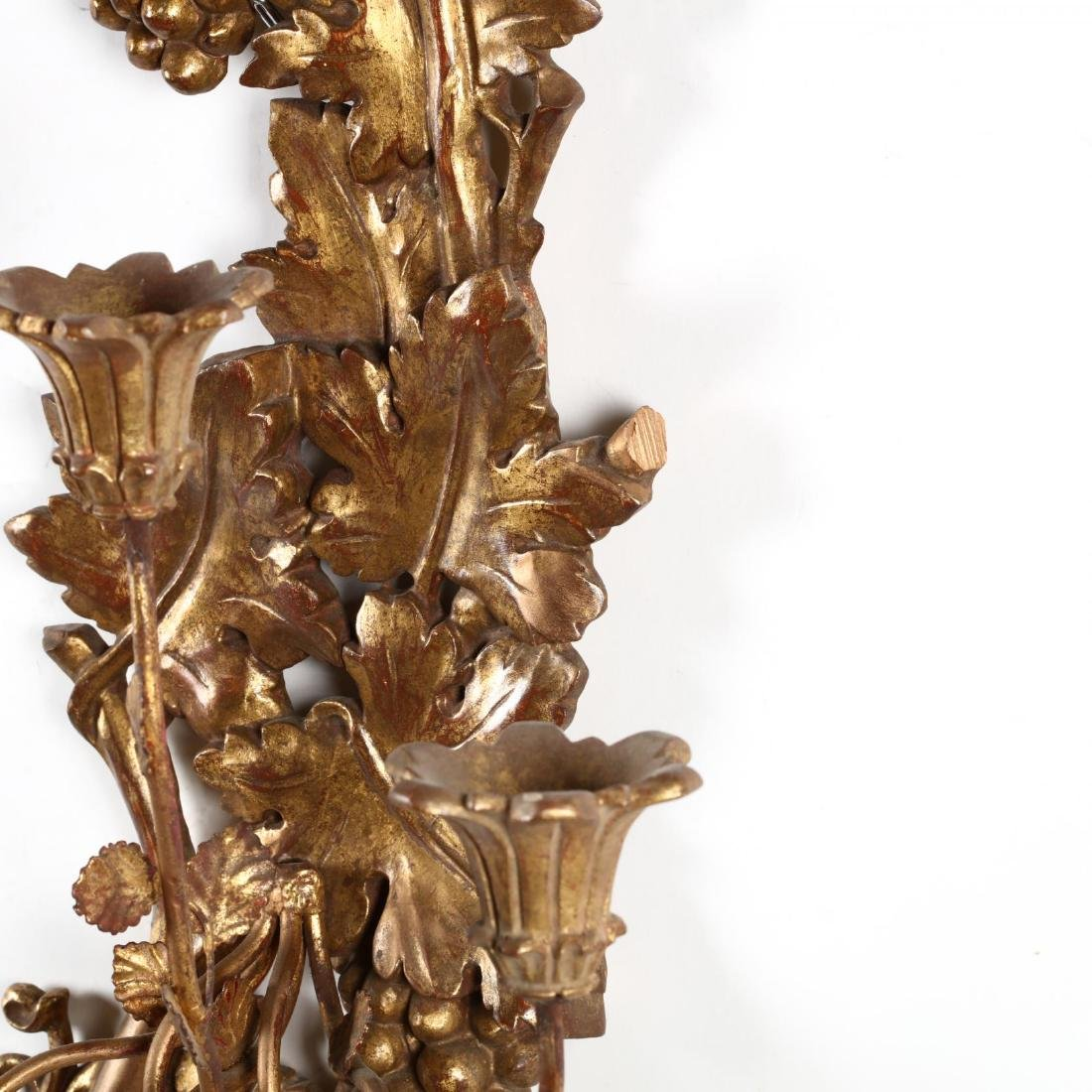 Pair of Italian Vintage Carved and Gilt Wall Sconces - 2