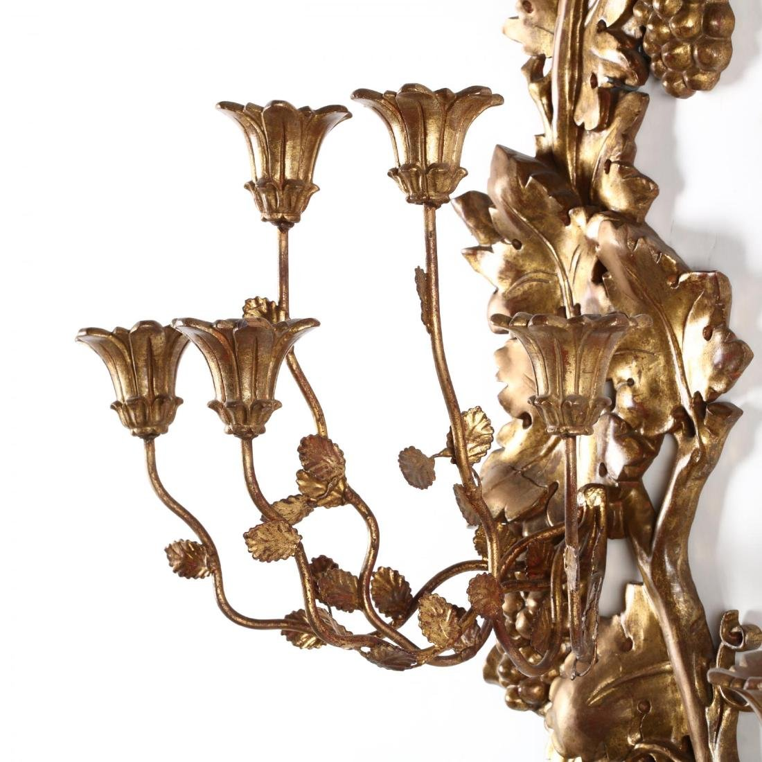 Pair of Italian Vintage Carved and Gilt Wall Sconces - 3