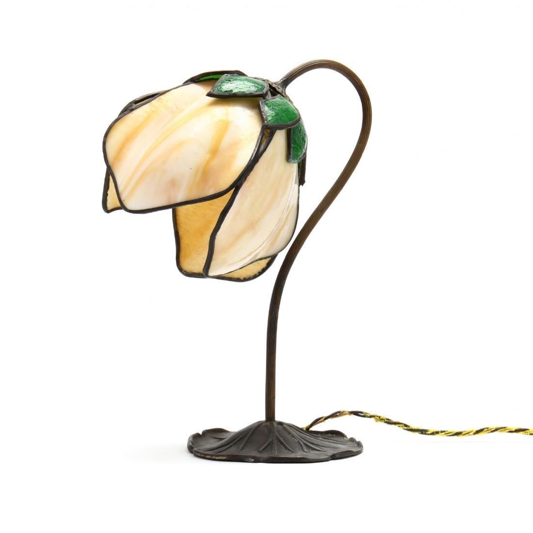 Vintage Slag Glass Tulip Form Table Lamp