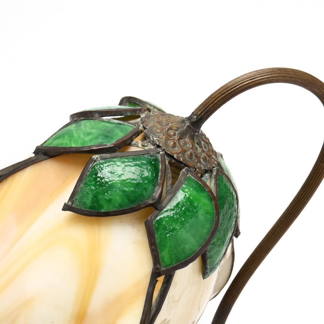 Vintage Slag Glass Tulip Form Table Lamp - 2