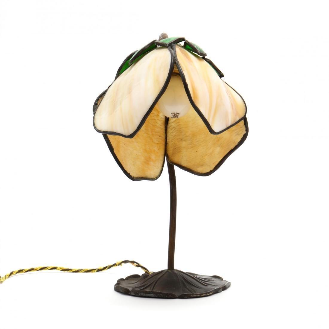 Vintage Slag Glass Tulip Form Table Lamp - 6
