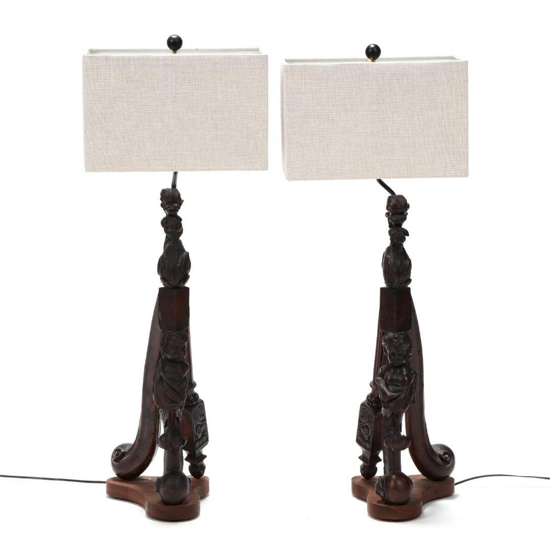 Pair of Vintage Continental Carved Element Table Lamps