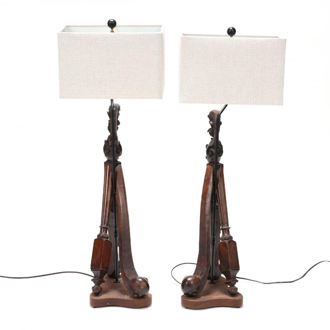 Pair of Vintage Continental Carved Element Table Lamps - 4