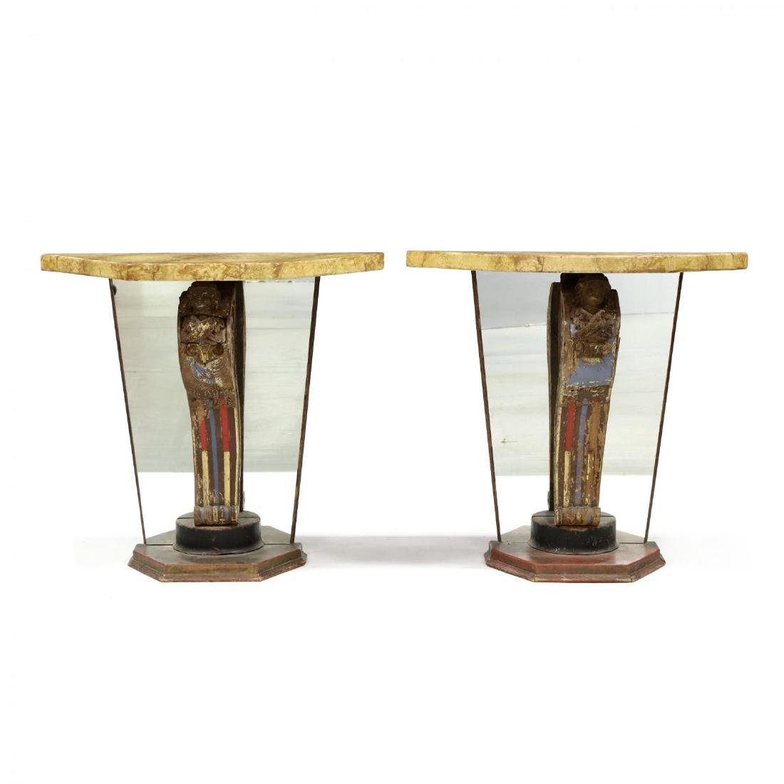Pair of Vintage Continental Carved and Mirrored Console