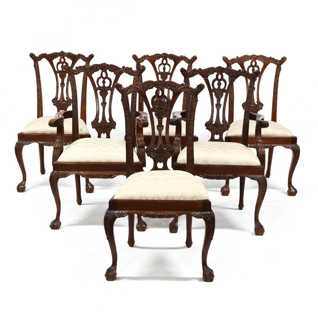 Set of Six Chippendale Style Carved Mahogany Dining