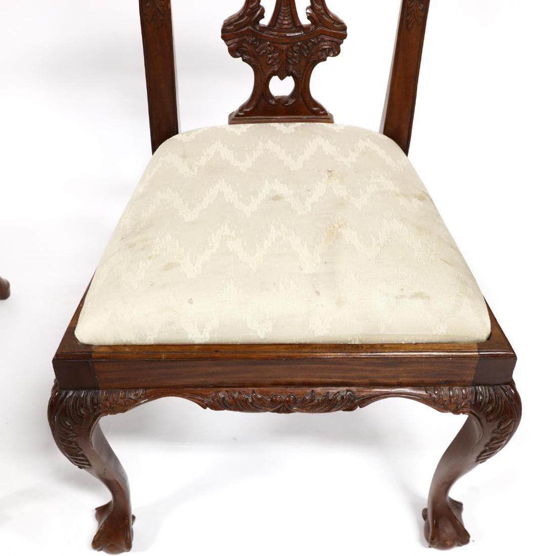 Set of Six Chippendale Style Carved Mahogany Dining - 2