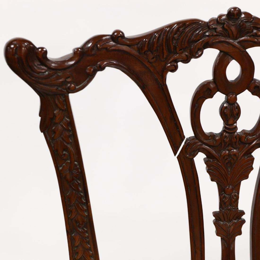 Set of Six Chippendale Style Carved Mahogany Dining - 4