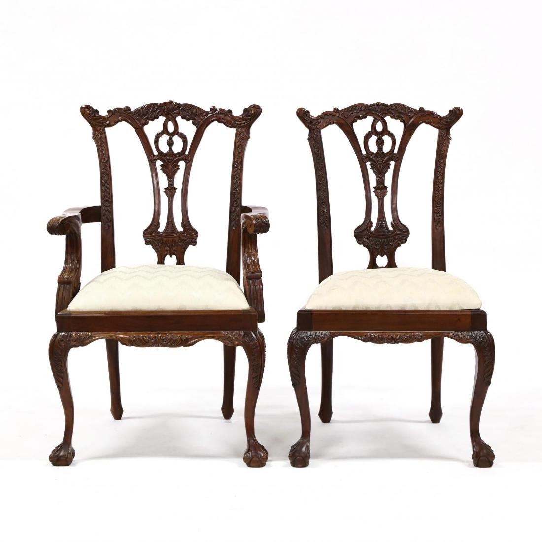 Set of Six Chippendale Style Carved Mahogany Dining - 5